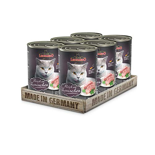 Leonardo Nassfutter [6x400g Kaninchen]   Getreidefreies Nassfutter für Katzen   Feuchtfutter Alleinfutter aus der Dose