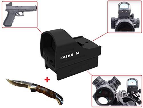 Maximtac Falke M Mini Leuchtpunktvisier - Red-Dot - Reflexvisier - Rotpunktvisier für Kurzwaffen, Langwaffen, Großkaliber geeignet + Klappmesser Gratis