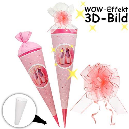 alles-meine.de GmbH 3D Bewegungs - Effekt ! - Schultüte - Ballerina / Tänzerin - 85 cm - rund - incl. Schleife - Tüllabschluß - Zuckertüte - mit / ohne Kunststoff Spitze - Goldbu..