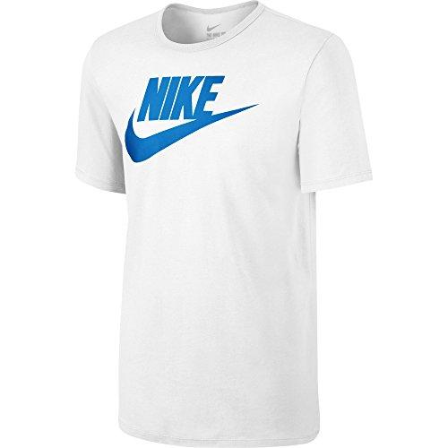 Nike Futura Icon T-Shirt Manches Courtes Homme, Blanc/Photo Bleu, FR (Taille Fabricant : XXL)