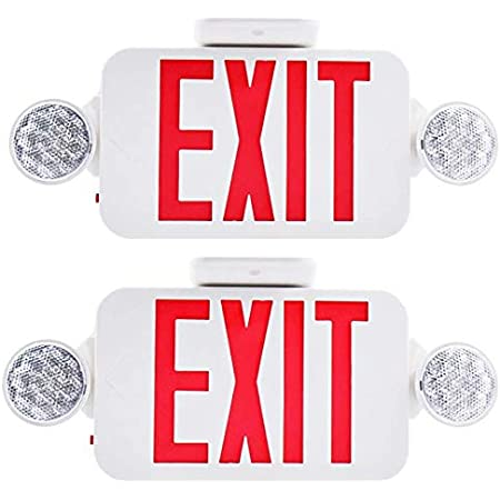 Amazon Com 2 Pack Ul Certified Led Round Emergency Light Exit Sign Hardwired Compact Combo With 2 Adjustable Head Lights Red Emergency Exit Lighting Commercial Grade High Output Home Improvement