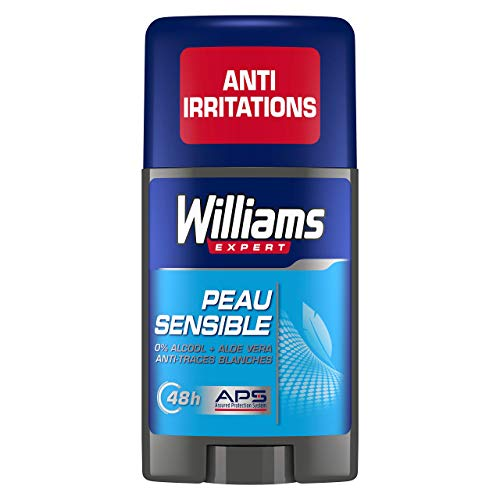Williams Expert Déodorant Homme Stick Antibactérien Protection 24h Anti-Trances Blanches et Anti-Odeurs Formule Testée Dermatologiquement, pour les Peaux Sensibles (Lot de 6x75ml)