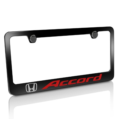 Honda Accord in Red Black Metal License Plate Frame