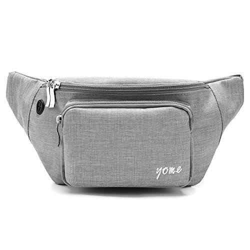 Fanny Pack for Men and Women, Yome Waist Pack Belt Bags with Adjustable Strap (Black)