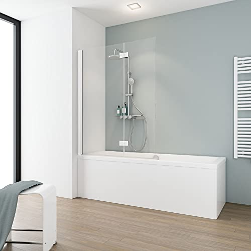 Schulte D33533-F 04 50 Pare baignoire rabattable, profilé et charnières en blanc, paroi pliante avec 2 volets pivotants, verre...