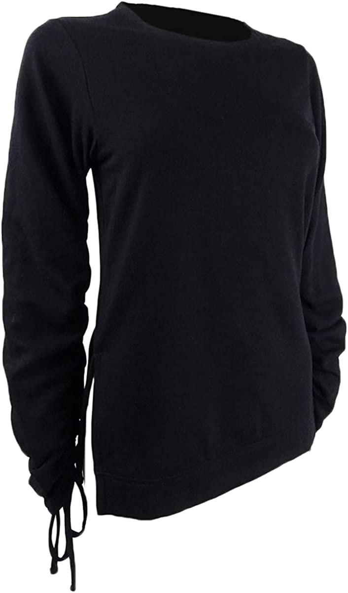 RACHEL Rachel Roy Women's Plus Liya Drawstring-Sleeve Sweatshirt (3X, Black)