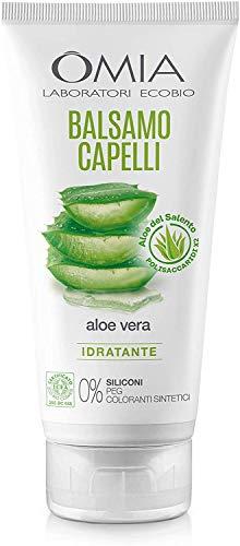 Omia - Balsamo Per Capelli Eco Bio con Aloe Vera del Salento, Balsamo Idratante e Illuminante, per Capelli Secchi e Crespi, Dermatologicamente Testato - Flacone da 200 ml
