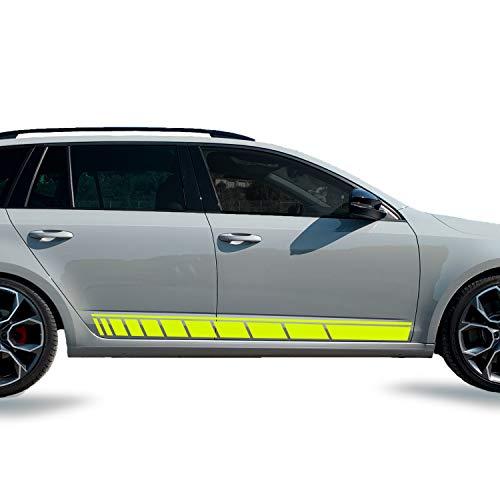 PrintAttack G006 | Auto Aufkleber 2er- Set Seiten Streifen Racing Dekor 170 cm x 13 cm | 3M 2080/Oracal 7510 Fluorescent Premium | Rennstreifen | Ralleystreifen | Sport | Seitenstreifen (Neongelb)