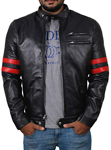 Laverapelle Men's Genuine Lambskin Leather Jacket (Black-Red, Custom, Polyester Lining) - 1501535