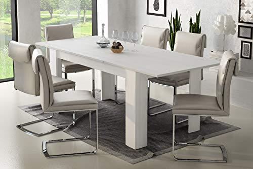DMORA Tavolo allungabile Moderno, Colore Bianco, cm 160 x 79.5 x 88, Fino a 220 cm con allunga, UNICA
