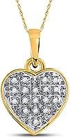 Diamond2Deal 10 Karat Gelbgold, runder Diamant-Herz-Anhänger für Damen, 1/20 Karat