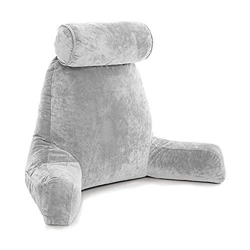 WHYWJ Almohada de Lectura Almohada de Espuma viscoelástica Colchón para Adultos Respaldo Almohada de Cintura extraíble con reposabrazos Interior de algodón PP (Gray)