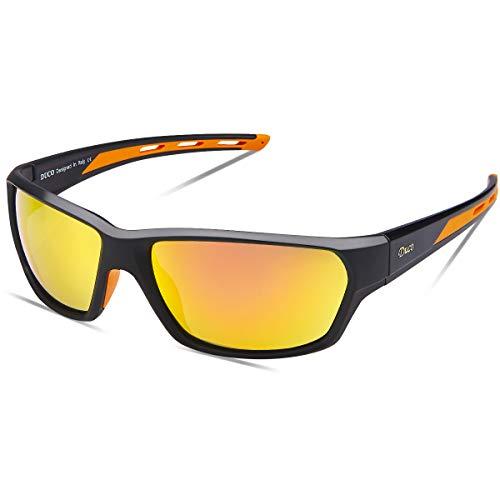 DUCO Polarisierte Sportbrille Sonnenbrille Fahrradbrille mit UV400 Schutz für Herren Autofahren Laufen Radfahren Angeln Golf TR90 (ORANGE)
