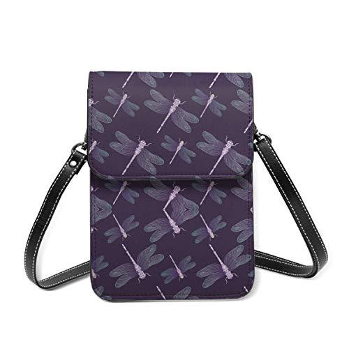 Handy-Geldbörse, Libelle, dunkelviolett, für Damen, leichte Schultertasche