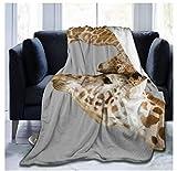 Fansu Kuscheldecke Flanell Decke, 3D Drucken Microfaser Flauschig Weich Warm Plüsch Wohndecke Fleece Tagesdecke Decke für Sofa & Bett (Giraffe,150x200cm)