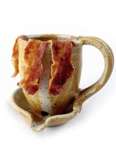 Hand-Sculpted Stoneware Microwave Bacon Cooker Mug, Made in USA (Butternut Tan)