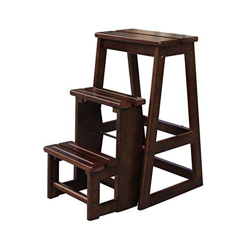 MEIDUO Durable Selles bois Chaise pliante 3 tabourets souple Küchenleiter Anti-dérapant compact 56 * 38 * 64 cm pour intérieur extérieur (Couleur : Marron)