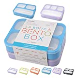 Bento Lunch Boxes Snack Containers | Leakproof Portion Lunch-Box Set for Kids Boys Girls Adults Lunches | BPA Free Microwave and Food Safe | Blue Purple Large 2 pack