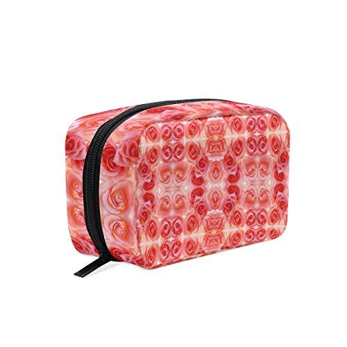 Trousse de maquillage avec fermeture à glissière cosmétique sac d'embrayage fleur beau motif sac de rangement de voyage sac carré pour femmes dame