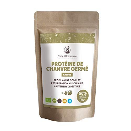FORCE ULTRA NATURE - Protéine de Chanvre Bio - Nature - Riche en Oméga 3 et 6 - 50 % de Protéines Végétales Complètes - Sources d'Acides Aminés Essentiels - 20 % de Fibres - 100 % Vegan - Sachet 500 g