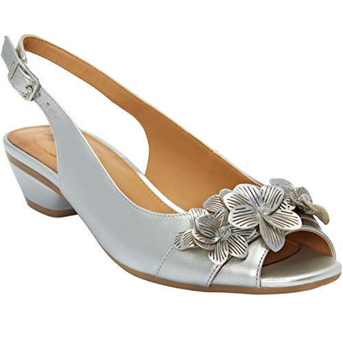 Comfortview Women's Wide Width The Rider Slingback - 12 W, Silver