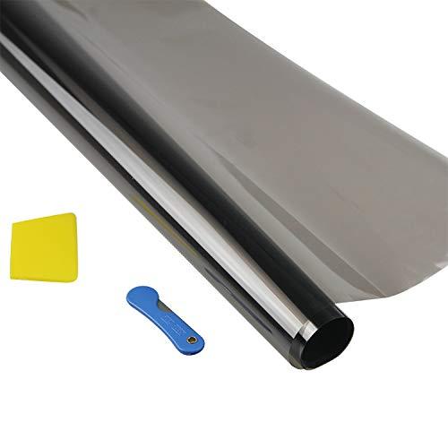 Zunbo Autofolie Fensterfolie Verdunkelungsfolie für Auto Sonnenschutzfolie selbstklebend Sichtschutzfolie Scheibentönungsfolie UV-Schutz Kratzfest Schwarz 3m x 50cm (15%)