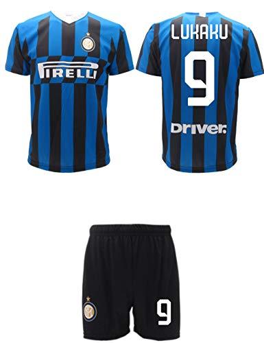 Maglia Lukaku Inter Ufficiale + Pantaloncini 2019 2020 Completo Divisa Adulto Ragazzo Bambino Home nerazzurra Romelu (12 Anni)