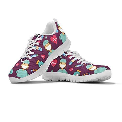 Amzbeauty Zapatillas deportivas para mujer, de malla, transpirables, absorbentes y cómodas, color Morado, talla 40.5 EU