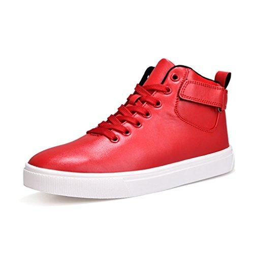 LFEU Homme Chaussure de Basket Cuir Ville Hiver Automne pour Course à Pied Mode Skate Imperméable 44 Rouge