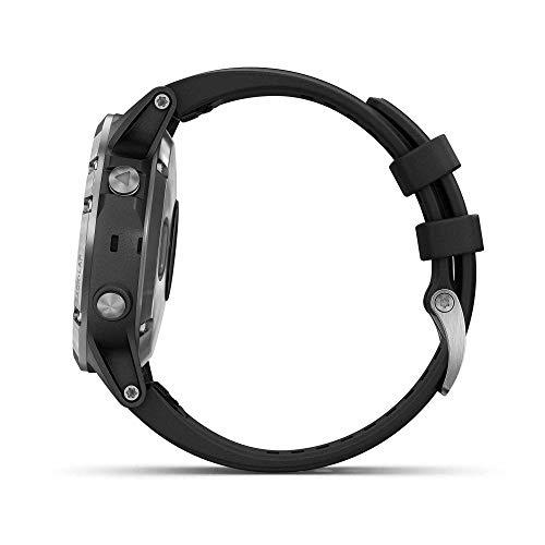 Garmin Fenix 5 Plus - Reloj GPS multideporte, Plata con correa negra
