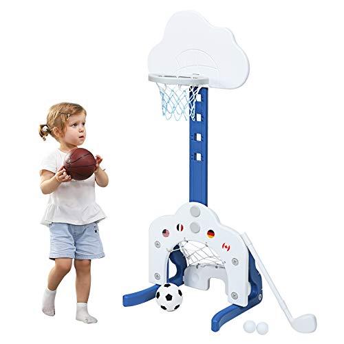 COSTWAY 3 in 1 Kinder Spielplatz, höhenverstellbarer Basketballkorb & Fußballtor & Golf, Basketballständer inkl. Bälle und Golf Club, Korbanlage für Kinder von 2-7 Jahren (Weiß)