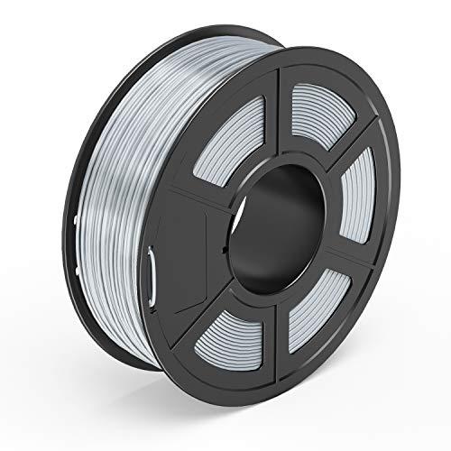 TECBEARS PLA Filamento de Impresión 3D, 1.75mm Seda Plata, Precisión Dimensional +/- 0.02 mm, 1kg Carrete, 1 Paquete