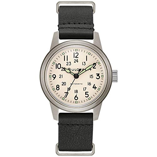 Bulova Hack Automatic Black Leather NATO Strap Watch 96A246