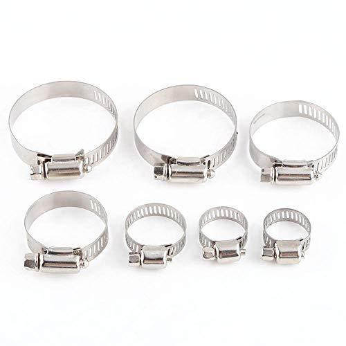 Abrazaderas de manguera de banda de tornillo ajustable de acero inoxidable de 10 Uds.(25-38)