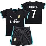 Maglie e pantaloni set 2ª squadra Real Madrid 2017-2018 - Replica Ufficiale con Licenza - CR7 - Cristiano Ronaldo - Bambino taglia 2 anni - Dimensione Seno 29 - Lunghezza 40 - Manica lunga 12 cm.