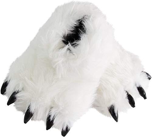Pantofole a forma di zampa di orso, divertenti scarpe pelose e imbottite con artigli, per costumi di cosplay per adolescenti e adulti, Bianco (bianco), 43/44 EU