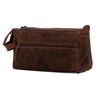 Genuine Leather Travel Toiletry Bag - Hygiene Organizer Dopp Kit By Rustic Town (Dark Brown)