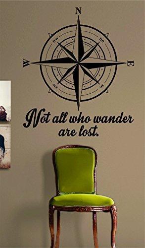 Vinilo removible Mural Citas Art Compass Not All Who Wander are Lost para dormitorio
