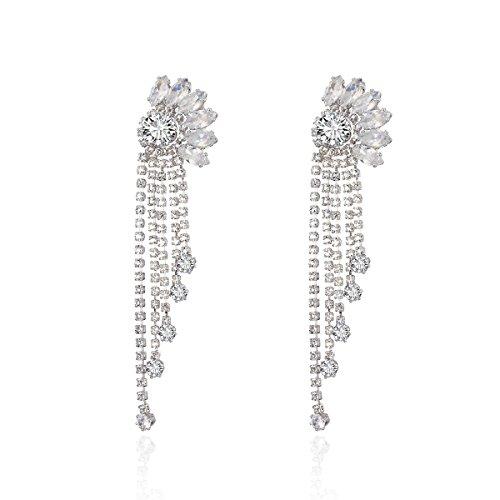 Pendientes de mujer, colgantes de borlas de cristal bohemio, pendientes de plata, regalos encantadores y de moda