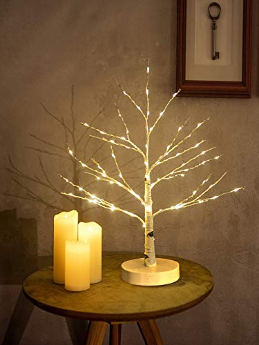 Artificial Decorative Light Tree | 24 Warm White LED Star Batteries USB Operated | Tabletop Decoration Centerpiece | Christmas Easter Holiday Party Indoor Decor 18 Inches (24 LEDs White Base)