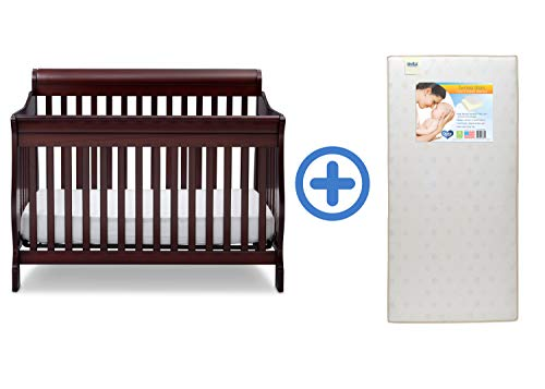 Find Bargain Delta Children Canton 4-in-1 Convertible Crib, Espresso Cherry with Twinkle Stars Crib ...