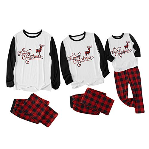 Matching Family Christmas Pajamas Sets Winter Holiday Raglan Tops and Pants, Kids Pjs Red Plaid Reindeer Loungewear( White, womens/Medium )