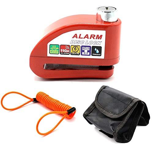 Bloqueo De Freno De Disco Candado De Disco Con Alarma 110DB Dispositivos Antirrobo Acero Para Motos Bicicletas (Rojo)