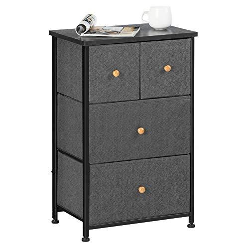 EPHEX Kommode aus Stoff – Schmaler Schrank Organizer mit 4 Schubladen für Schlafzimmer, Wohnzimmer oder Flur – kleine Kommode aus Metall, MDF und Stoff