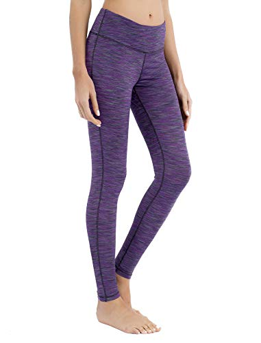 QUEENIEKE Yoga Leggings mit Tasche Klassische Bauchkontrolle Mittlere Taille Laufhose Workout Sporthose für Damen Farbe Violett Space Dye Größe S(4/6)