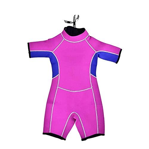 Tauchanzüge, Tauchanzug Kinder, Neopren Shorty Schnorcheln Tauchen Bademode zum Surfen Tauchen (Color : Pink Girls, Size : 6)