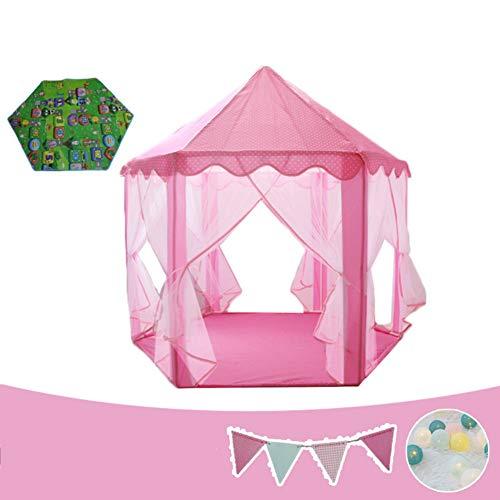 YIKAY Carpa Infantil, Gran Espacio Interior del Castillo de Juegos Casa Chica Casa Princesa Regalo de cumpleaños de la casa del Juguete,Rosado