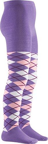 Playshoes Mädchen Karo, in verschiedenen Farben, Textiles Vertrauen nach Oeko-Tex Standard 100 Strumpfhose, Violett (violett 13), 122 (Herstellergröße: 122/128)