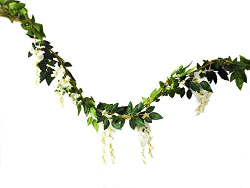 Sunrisee 2 Pcs Artificial Flowers 6FT Silk Wisteria Ivy Vine Hanging Flower Greenery Garland for Wedding Party Home Garden Wall Decoration, White