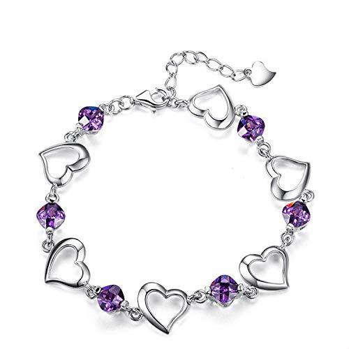 Bracelet Bracelet Coeur en Argent Sterling Femme Écraser Les Bijoux